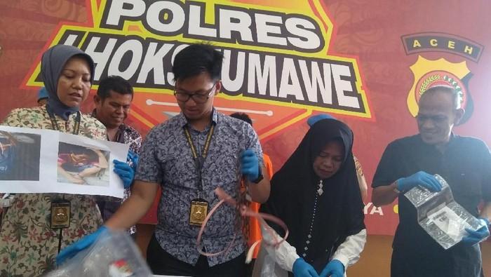 Polres Lhokseumawe  menggelar jumpa pers. Foto: Datuk Haris Maulana/detikcom