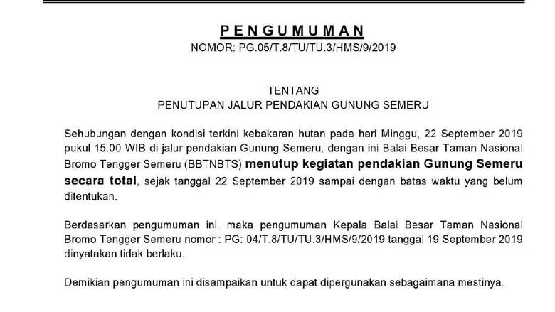 Pendakian Gunung Semeru ditutup total (Dok. BBTNBTS)