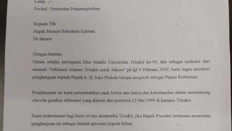 Beredar Surat Trisakti akan Beri Jokowi Gelar Putera Reformasi