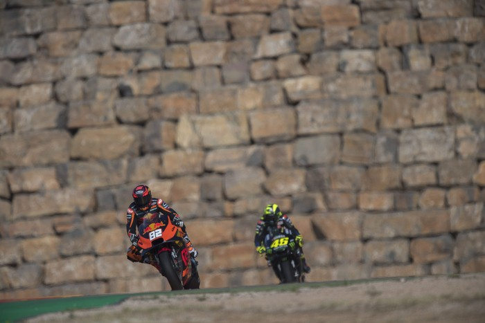 ALCANIZ, SPAIN - SEPTEMBER 20: Mika Kallio of Finland and Red Bull KTM Factory Racing leads the field  during the MotoGp of Aragon - Free Practice on September 20, 2019 in Alcaniz, Spain. (Photo by Mirco Lazzari gp/Getty Images)