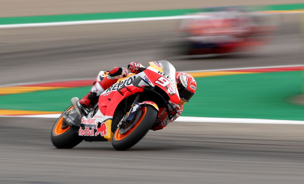 MotoGP - Aragon Grand Prix - Ciudad del Motor de Aragon, Alcaniz, Spain - September 22, 2019   Repsol Honda's Marc Marquez during the MotoGP race   REUTERS/Albert Gea