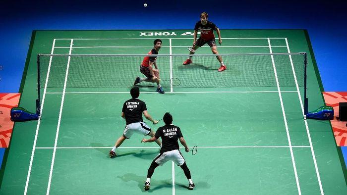 Kevin Sanjaya Sukamuljo/Marcus Fernaldi Gideon akan menghadapi Mohammad Ahsan/Hendra Setiawan di final China Open 2019 (Foto: Matt Roberts/Getty Images)