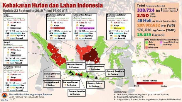 Sejumlah hotspot di Sumatera dan Kalimantan berkurang setelah hujan buatan turun