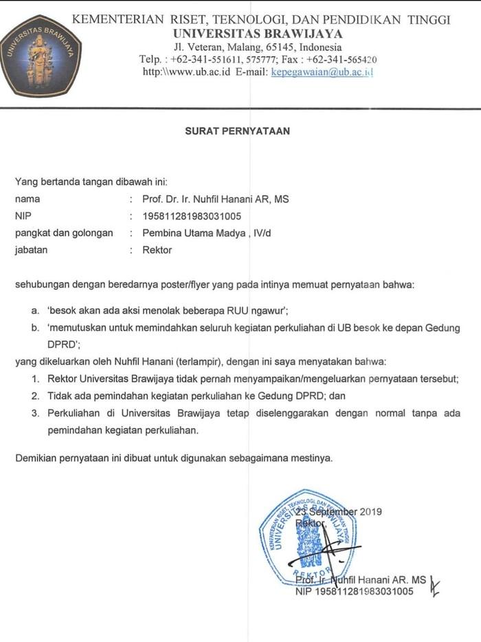 Surat Pernyataan Rektor Universitas Brawijaya/Foto: Istimewa