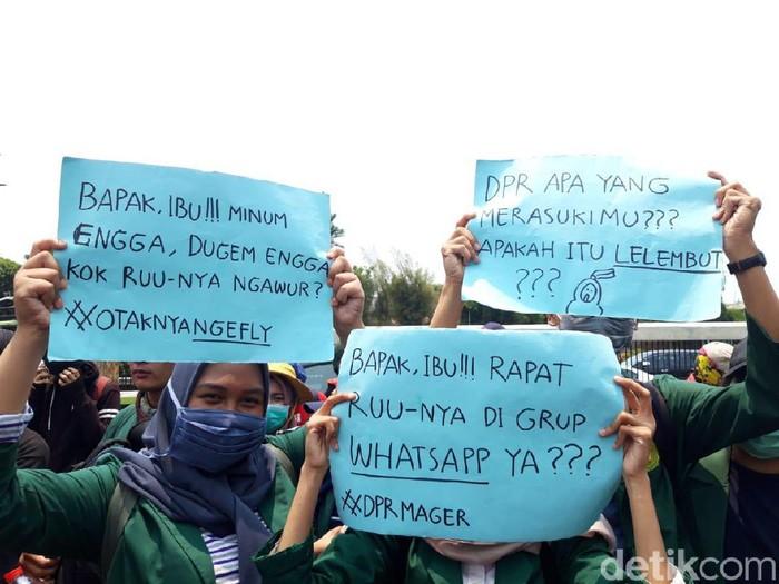 Foto: Mahasiswa yang demo di DPR (Rahel Narda Chaterine/detikcom)
