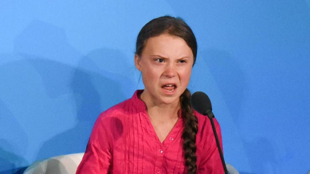 Viral, Wajah Kesal Greta Thunberg karena Jalannya Disalip Trump di PBB