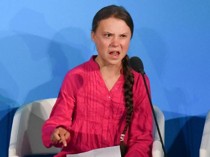 Aktivis lingkungan Greta Thunberg saat berpidato tentang masalah pemanasan global di PBB. Foto: Getty Images