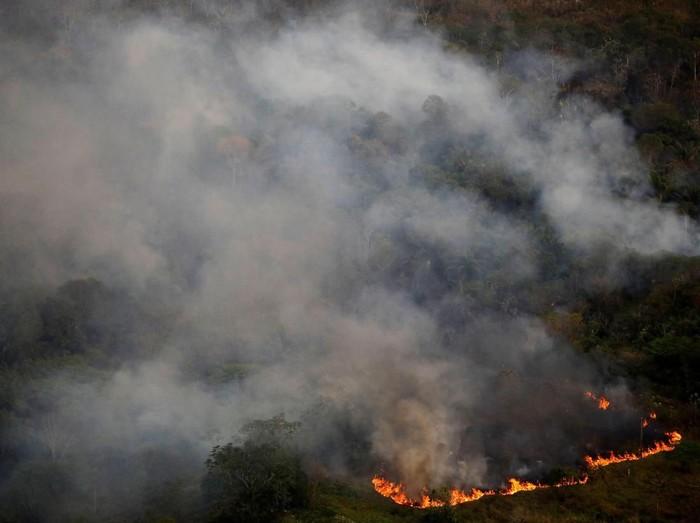 Foto kebakaran hutan Amazon di area dekat Porto Velho, Brasil pada 17 September lalu (REUTERS/Bruno Kelly)