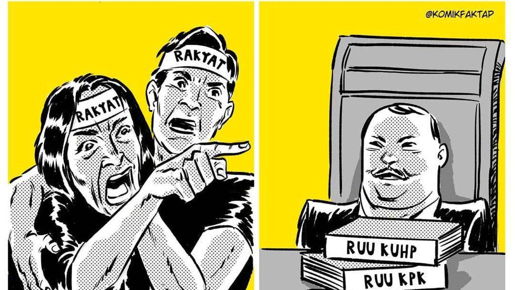 Sentilan Isu Politik Juga Kental di Ilustrasi Komik Faktap