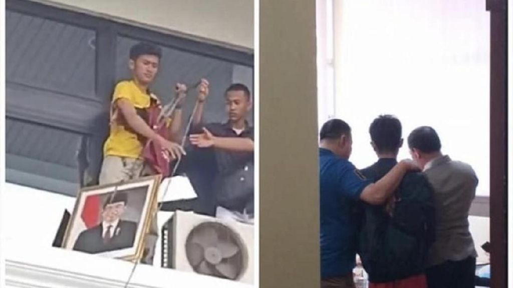 Jadi Tersangka, Mahasiswa yang Turunkan Pigura Jokowi Minta Maaf