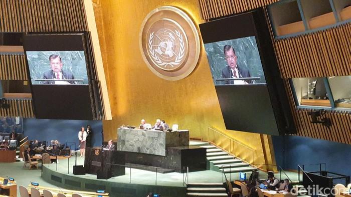 Foto: Wakil Presiden Jusuf Kalla berpidato di Sidang Umum PBB. (Tiara-detikcom)
