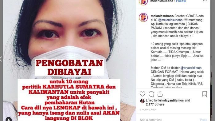 Melanie Subono buka pengobatan gratis dan donasi karhutla. Foto: Tangkapan layar Instagram