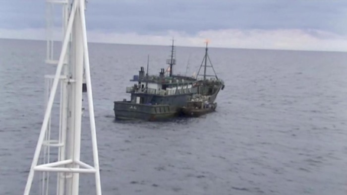 A still image taken from video footage and released by Russias Federal Security Service on September 18, 2019, shows a North Korean boat sailing during an incident in which Russian border guards had detained two North Koreanvesselsafter one of them attacked aRussian patrol ship in the Sea of Japan on September 17, 2019. Federal Security Service/Handout via REUTERS ATTENTION EDITORS - THIS IMAGE WAS PROVIDED BY A THIRD PARTY. NO RESALES. NO ARCHIVES. MANDATORY CREDIT.