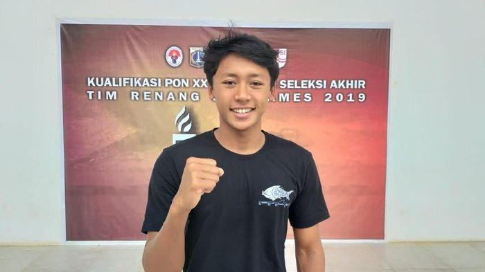 Farrel Armandio Tangkas memecahkan rekor di nomor 200 meter gaya punggung putra pada ajang Jakarta Open Swimming Championship 2019, Sabtu (28/08/2019). (dok. Humas PRSI)