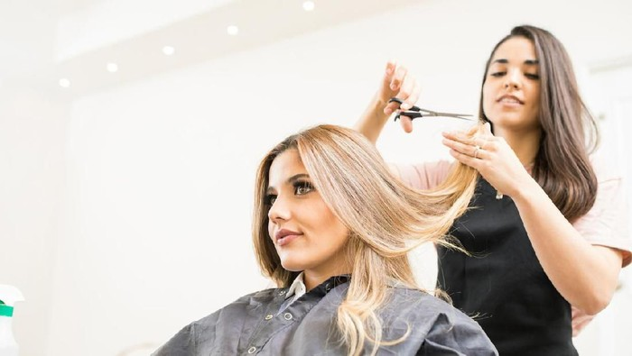 Pretty brunette working as a hairdresser and cutting hair tips of a female customer in a beauty salon