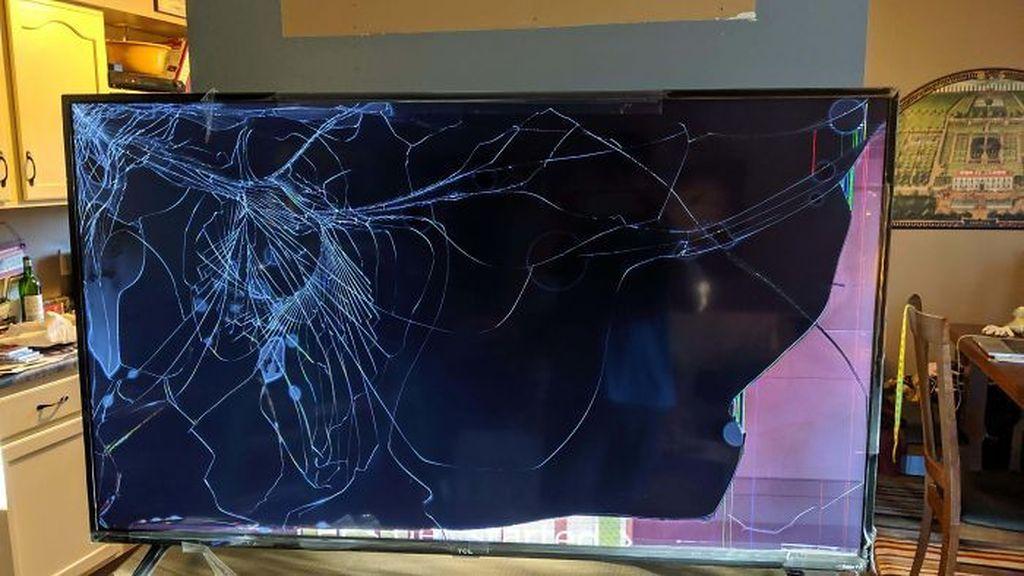 Televisi yang baru dikirim sudah tak karuan bentuknya. Foto: Bored Panda