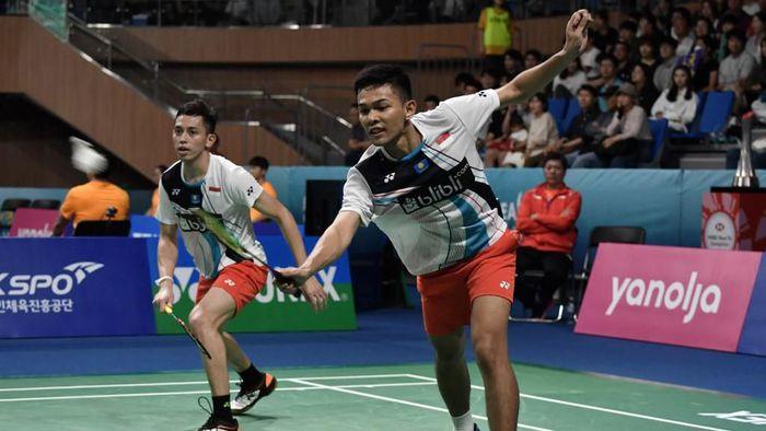 Fajar Alfian/Muhammad Rian Ardianto jadi satu-satunya wakil Indonesia di final Korea Open 2019 (Foto: Jung Yeon-je / AFP)