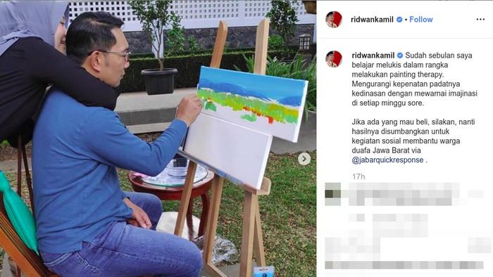 Ridwan Kamil menjalani terapi gambar. (Foto: Instagram @ridwankamil)