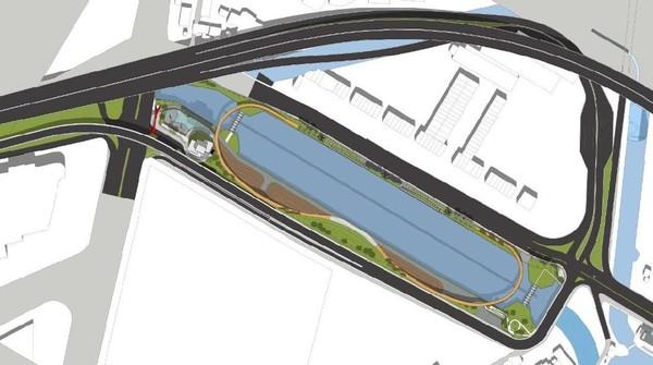 Dari gambar desain yang beredar, rencananya Kalimalang akan memiliki 4 zona yang terbagi ke dalam area utara seluas 5.290 meter persegi dan area selatan 13.900 meter persegi. (dok. Humas Pemprov Jabar)