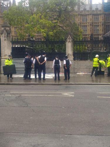 Situasi saat polisi menahan seorang pria yang hendak bakar diri di luar gedung parlemen Inggris