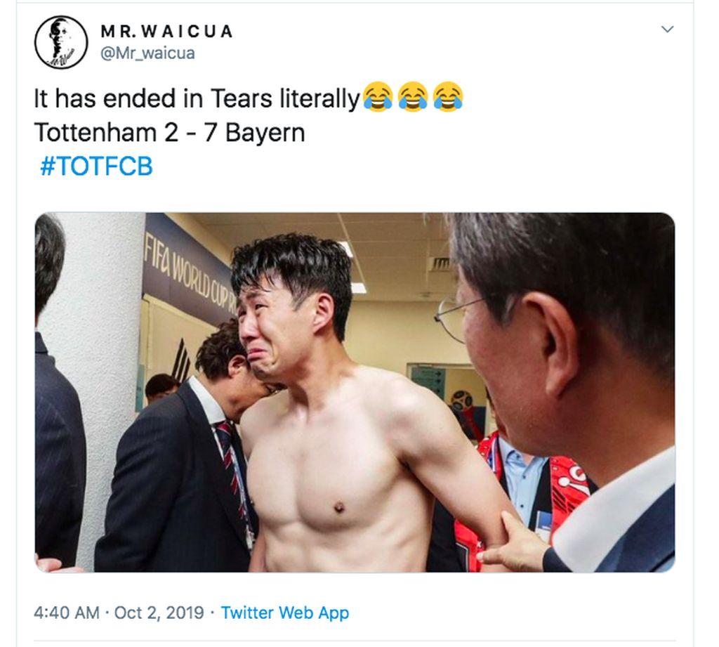 Meme Heung Ming Son menangis. Foto: Twitter