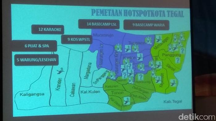 Gambar peta sebaran HIV di Tegal. (Foto: Imam Suripto)