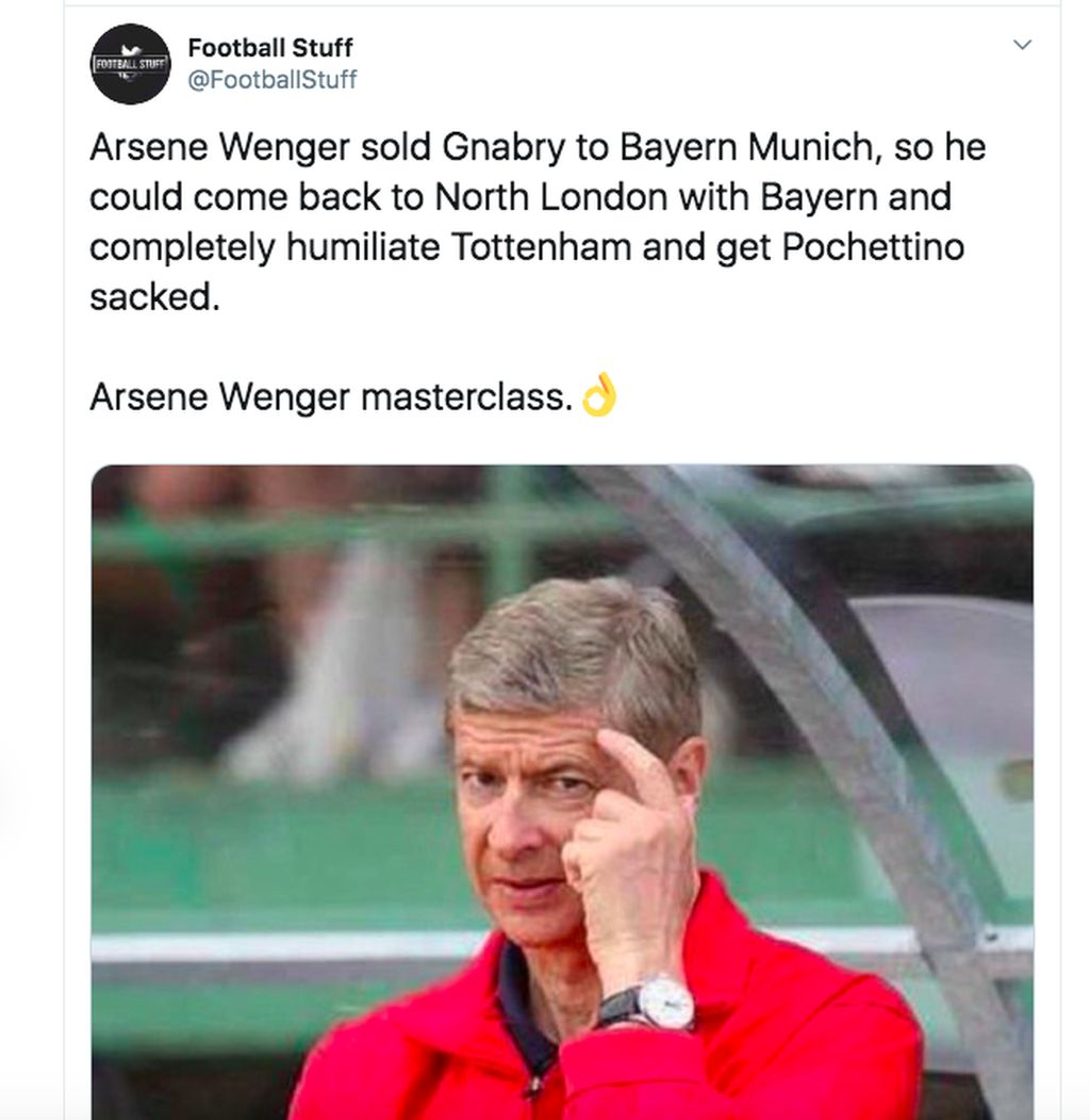 Serge Gnabry yang mencetak 4 gol ke gawang Spurs adalah mantan pemain Arsenal yang dijual ke Bayern Munich semasa Arsene Wenger masih pelatih. Arsene dan Spurs sendiri adalah musuh bebuyutan di kota London sehingga kehebatannya menghujam gawang Spurs turut dirayakan fans Arsenal. Foto: Twitter