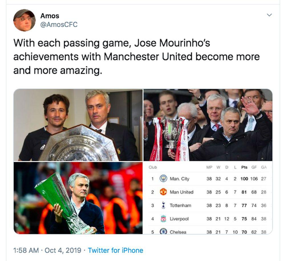 Setelah waktu berlalu, baru terasa bagaimana kehebatan Jose Mourinho kala melatih MU dan meraih prestasi cukup tinggi. Foto: Twitter