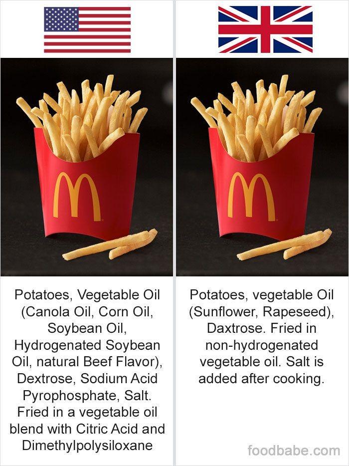 Hari yang mengelola situs Food Babe membeberkan bahan tambahan pangan (BTP) yang banyak dipakai di produk makanan AS. Kentang goreng, misalnya, di Inggris hanya memakai sedikit BTP. Beda jauh dengan kentang goreng di AS dengan tambahan dextrose sampai sodium acid pyrophosphate. Foto: Instagram thefoodbabe
