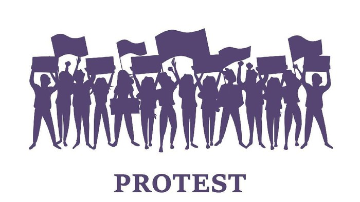 A group of men and women take part in the protest. People holding posters. Colorful vector illustration.