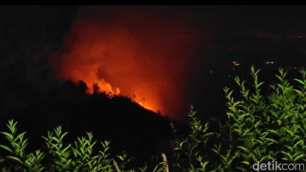 Api yang Membakar Bukit Penanjakan Bromo Belum Padam