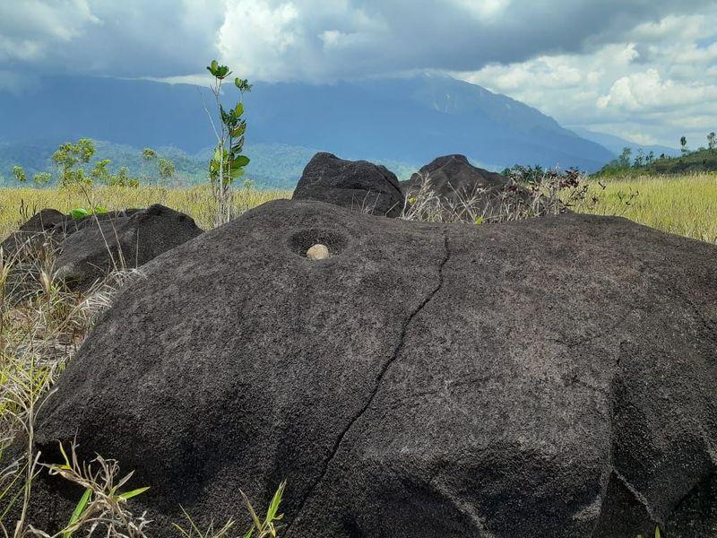 Penelitian arkeologi di lapangan tembak Kodam XVII/Cenderawasih, Gunung Bakso, Distrik Waibu, Kabupaten Jayapura, Papua berhasil menemukan tinggalan megalitik berupa bongkahan batu besar yang pada masa prasejarah berfungsi sebagai lumpang (Hari Suroto/Balai Arkeologi Papua/Istimewa)