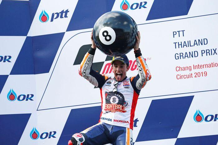 Marquez memastikan diri meraih gelar juara dunia kedelapan dalam kariernya usai tampil sebagai pemenang di sirkuit Buriram, Minggu (6/10/2019) siang WIB.