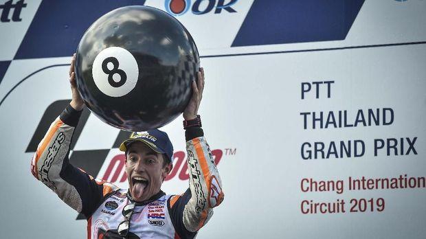 Marc Marquez menjadi juara dunia MotoGP 2019 di GP Thailand.