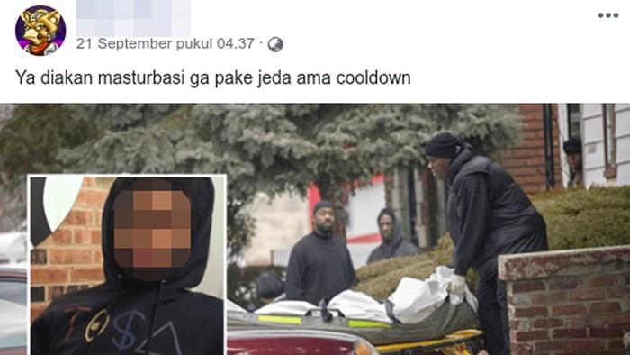 Kisah remaja tewas karena masturbasi beredar di Facebook. (Foto: Tangkapan layar Facebook)