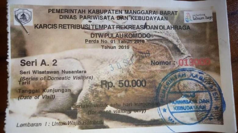 Salah satu tiket masuk di TN Komodo (Dok. Florius Nandi/Istimewa)