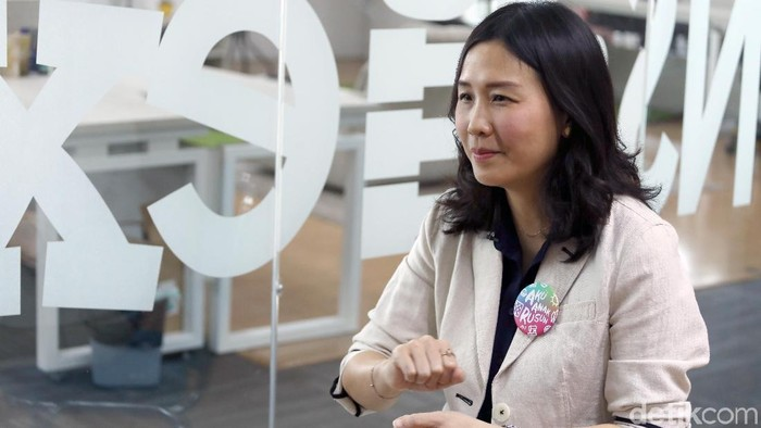 Veronica Tan saat berkunjung ke kantor detikcom.