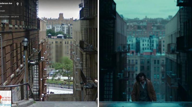 Tangga Joker benar ada di Anderson Ave & W 167th St, The Bronx, New York. Untuk informasi, tangga curam memang banyak dijumpai di kawasan The Bronx yang memiliki kontur tanah curam (Google Street View/Warner Bros)