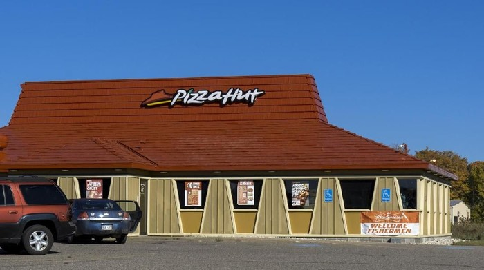 Grand Marais, Michigan, USA - September 27, 2014: A Pizza Hut location in Grand Marais. Part of YUM International, Pizza Hut has locations around the globe.