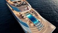 Untuk pengembangan Aqua, inspirasinya dari gaya hidup wisatawan yang cerdas. Teknologi terkini juga disematkan di dalam superyacht ini (Sinot Yacht Architecture & Design 2019/CNN)