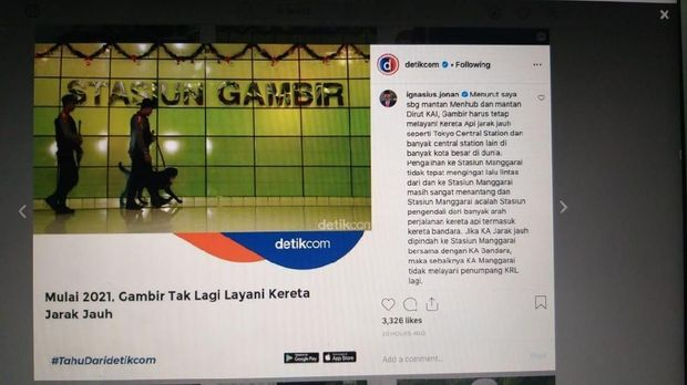 Kritik Ignasius Jonan di Instagram detikcom soal pengallihan ke Stasiun Manggarai