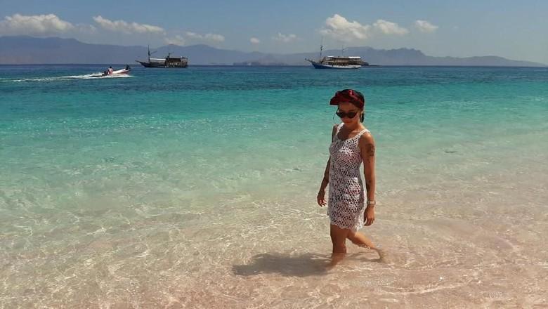 Wisatawan di Pantai Pink, Pulau Padar, NTT (Linda Agustina/Istimewa)