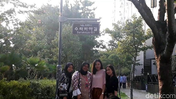 Tak jauh dari Jalan Surabaya, ada taman kecil hingga jogging track sehingga ramai digunakan warga untuk berolahraga. Para mahasiswa Indonesia yang sekolah di Busan juga sering berfoto di sini. (Hilda/detikcom)