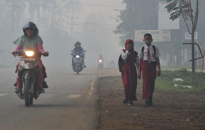 Kondisi Jambi saat kualitas udara memburuk. (Antara Foto/Wahdi Septiawan)