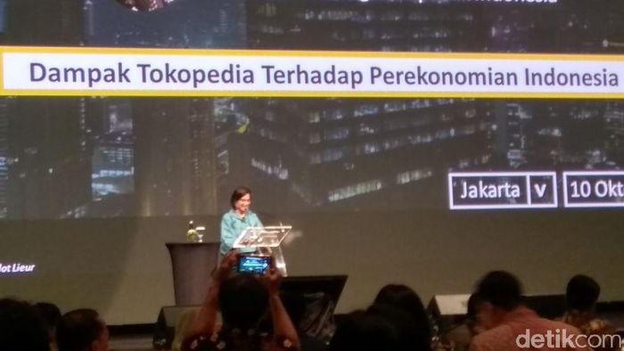 Foto: Sri Mulyani di Acara Tokopedia (Trio Hamdani/detikFinance)