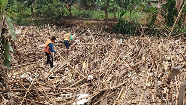 Sampah bambu di Sungai Cikeas.