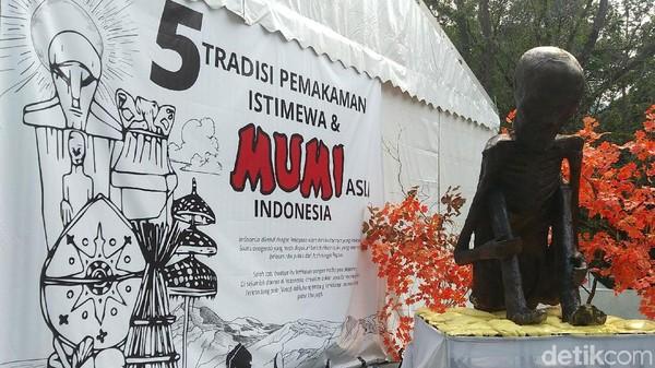 Berlangsung dari tanggal 7-13 Oktober 2019 atau akhir pekan ini, Pekan Kebudayaan Nasional (PKN) 2019 menghadirkan sejumlah venue menarik terkait budaya Indonesia. Salah satu yang cukup mencuri perhatian adalah venue tradisi pemakaman istimewa dan mumi asli Indonesia di sisi Utara Istora Senayan (Randy/detikcom)