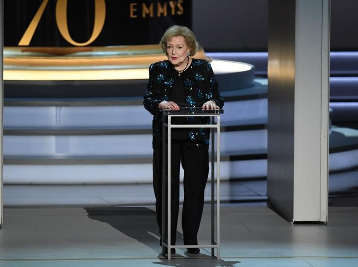 LOS ANGELES, CA - SEPTEMBER 17:  Betty White speaks onstage during the 70th Emmy Awards at Microsoft Theater on September 17, 2018 in Los Angeles, California.  (Photo by Kevin Winter/Getty Images)