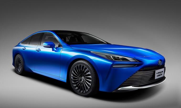 Mobil masa depan Toyota, Toyota Mirai kini ganti wajah. Penampilannya berubah menjadi sangat sporty berkat penggunaan platform TNGA (Toyota New Global Architecture). Istimewa/Dok. Toyota.