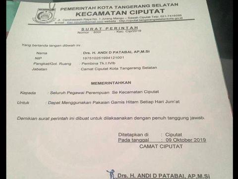 Foto hoax surat perintah Camat Ciputat yang meminta PNS perempuan memakai gamis hitam tiap hari Jumat